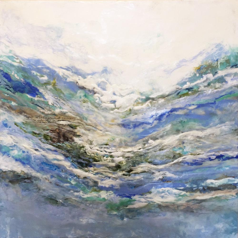 """Of Ships & Mermaids""                                                      Encaustic on Birch Panel                                                         36x36 ($3000.00) SOLD"