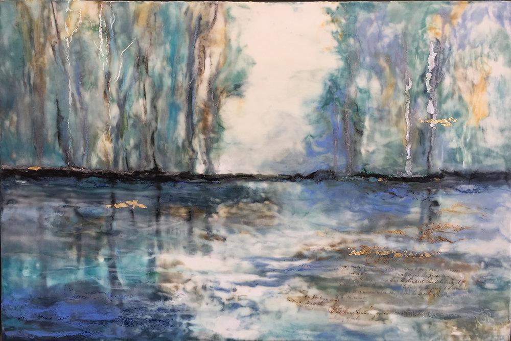 """""""Kennebunk Marsh""""                                                             Encaustic on Birch Panel                                                         24 x 36 ($3500.00)"""