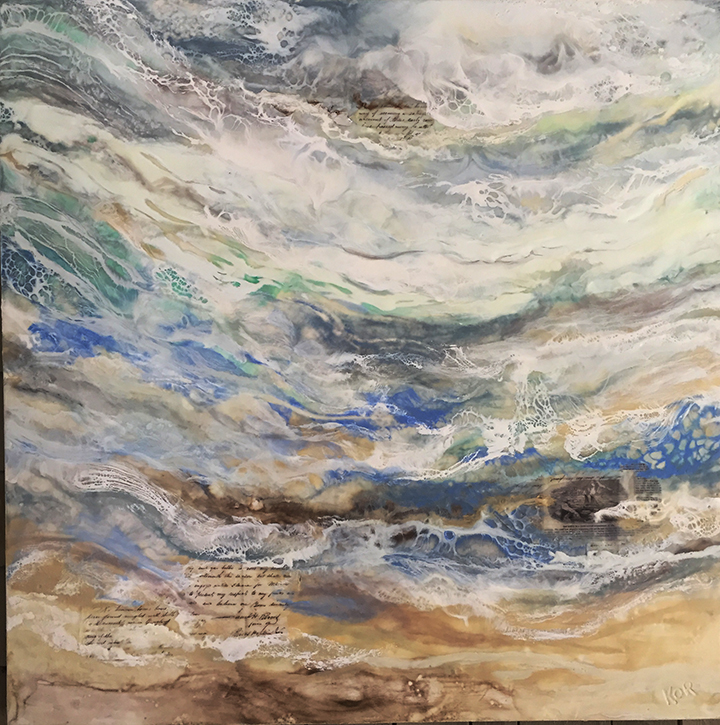 """The fate of the schooner ""Romer"" Encaustic on birch panel 36 x 36 ($3500)"