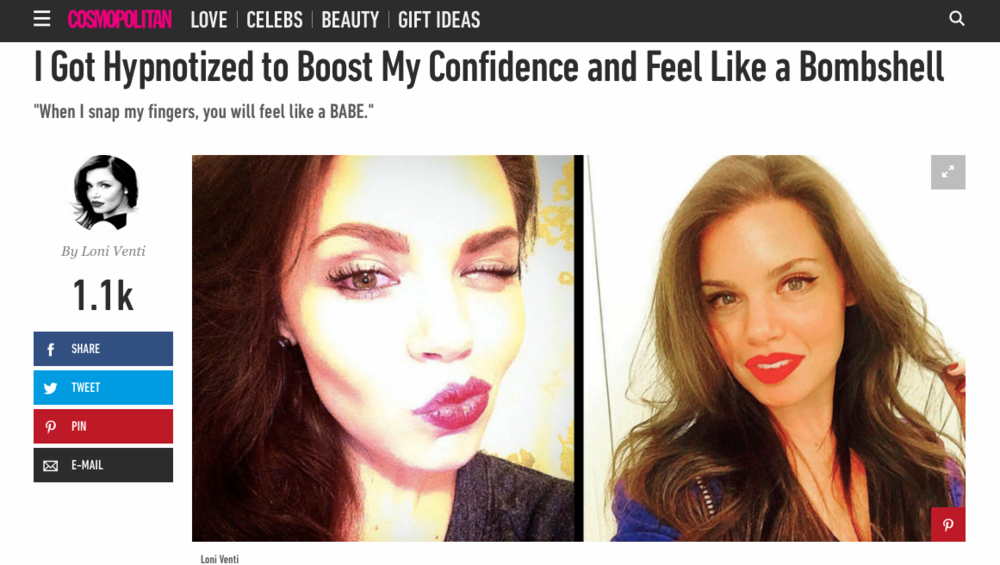 OCTOBER 2015 COSMO ARTICLE - I GOT HYPNOTIZED TO BOOST MY CONFIDENCE AND FEEL LIKE A BOMBSHELL
