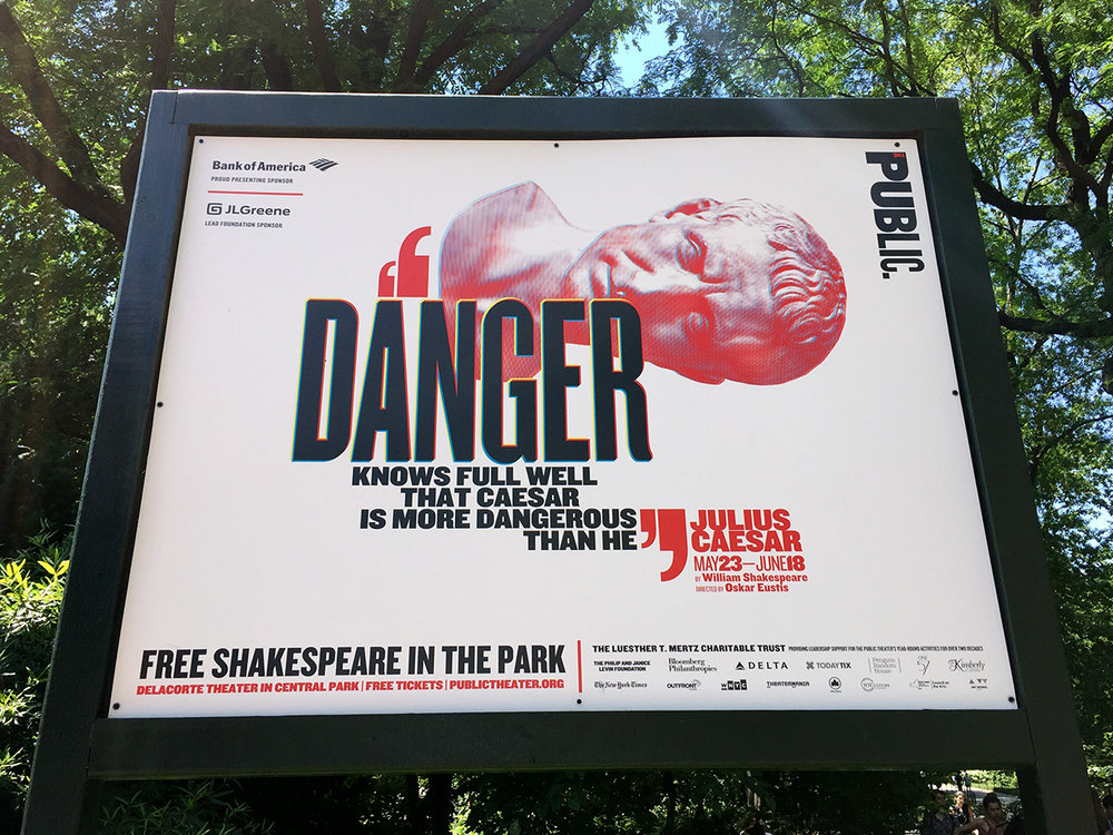 Paula Scher's campaign for The Public Theatre in Central Park.