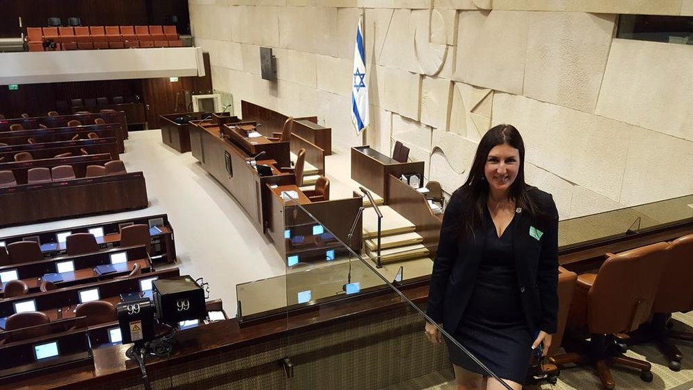 Hannah Kane, State Representative for Massachusetts's 11th District, visiting the Knesset with the Jewish Community Relations Council. (Photo: Twitter/ @HannahEKaneMA)
