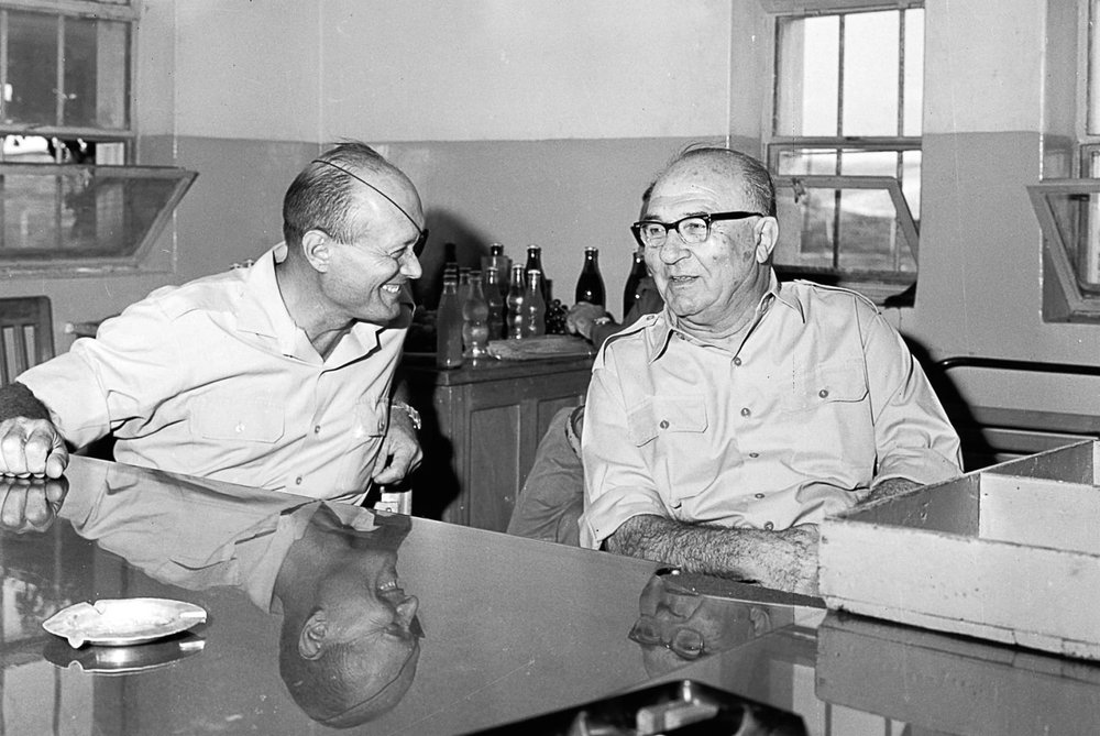 Prime Minister Levi Eshkol and Defense Minister Moshe Dayan during their visit to army installations on the West Bank, September 20, 1967.  Photo credit: Ilan Bronner, GPO