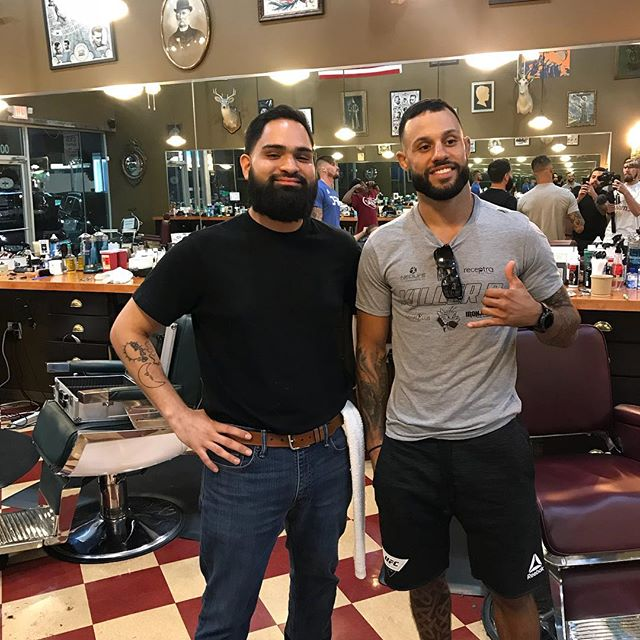 Thanks for coming in last night. @brandondavisufc. Good luck on your fight Saturday night ! #dallasbarber #ufc#dallasbarbershop #dallasblogger #dallas #dallasbarbers  Barber- @therainmanunkown