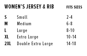 Size Chart for Slim Fit Tees