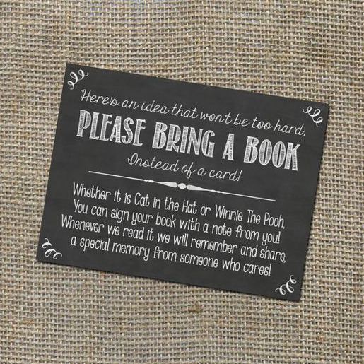 sample invite asking for books at baby shower