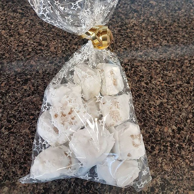 Pfeffernusse (Peppernut) Cookies. Pre- packaged for easy gift giving. #viennabakery #yeglocal #yegbaking #yegbuylocal #yegsmallbusiness #yegchristmasbaking #yegcookies #pfeffernusse #peppernuts