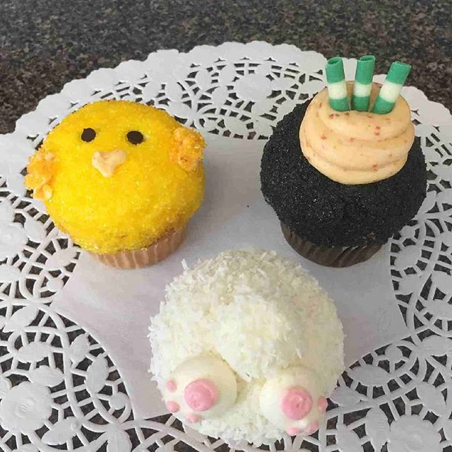 Spring / Easter  cupcakes: Chick , Bunny and Carrot top. Vienna Bakery open Saturday 7am to 4 pm #viennabakery #yeglocal #yegbaking #yegsmallbusiness #yegbuylocal #yegdessert #yegeaster #yegcupcakes #yegeastercupcakes #cupcakes