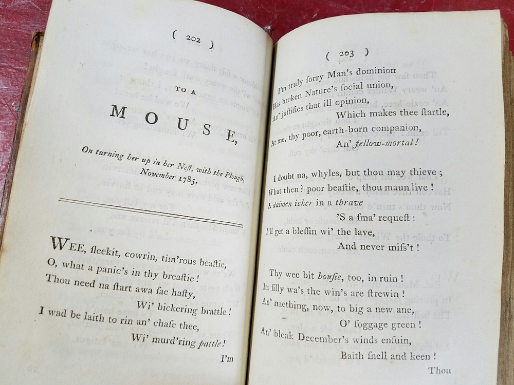 A 1796 edition of the collected Burns' poems.
