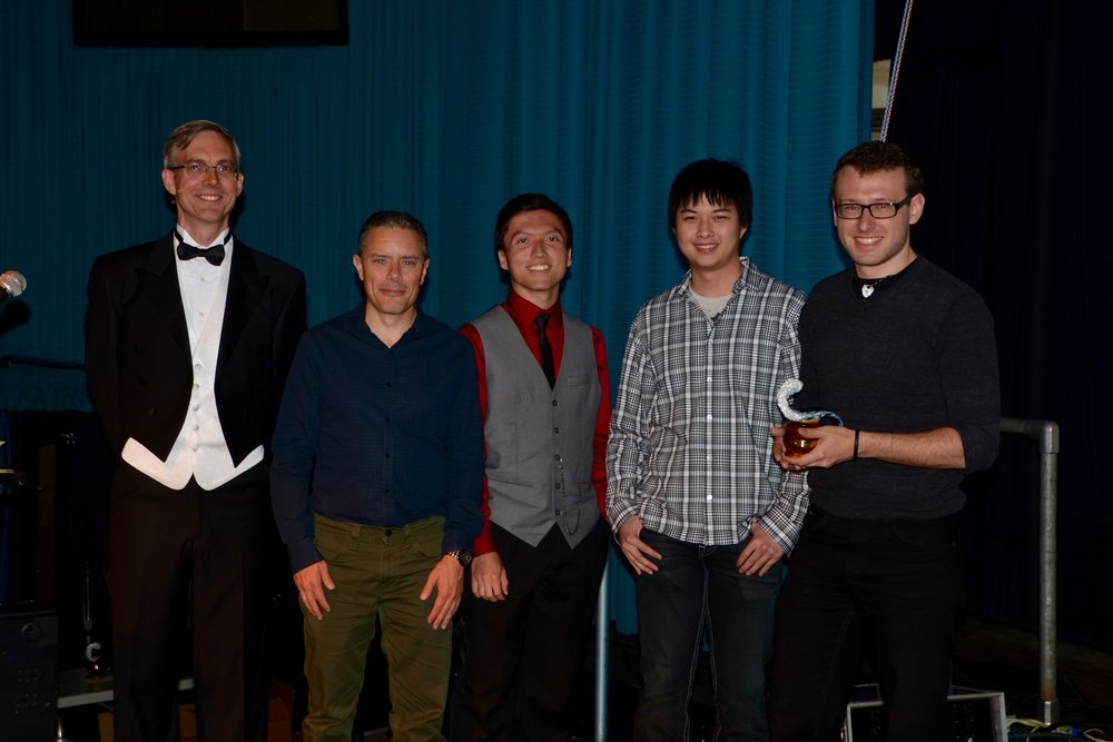 Route 95 at the 2016 UCSC Sammy Awards. Pictured (left to right): Jim Whitehead, Michael Mateas, Richard Pittman, Marco Iskandar, Aaron Desin  Not pictured: Muhammad Alyan Shafique