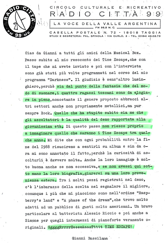 RADIO CITTA' 99 (ITALY) - 1988