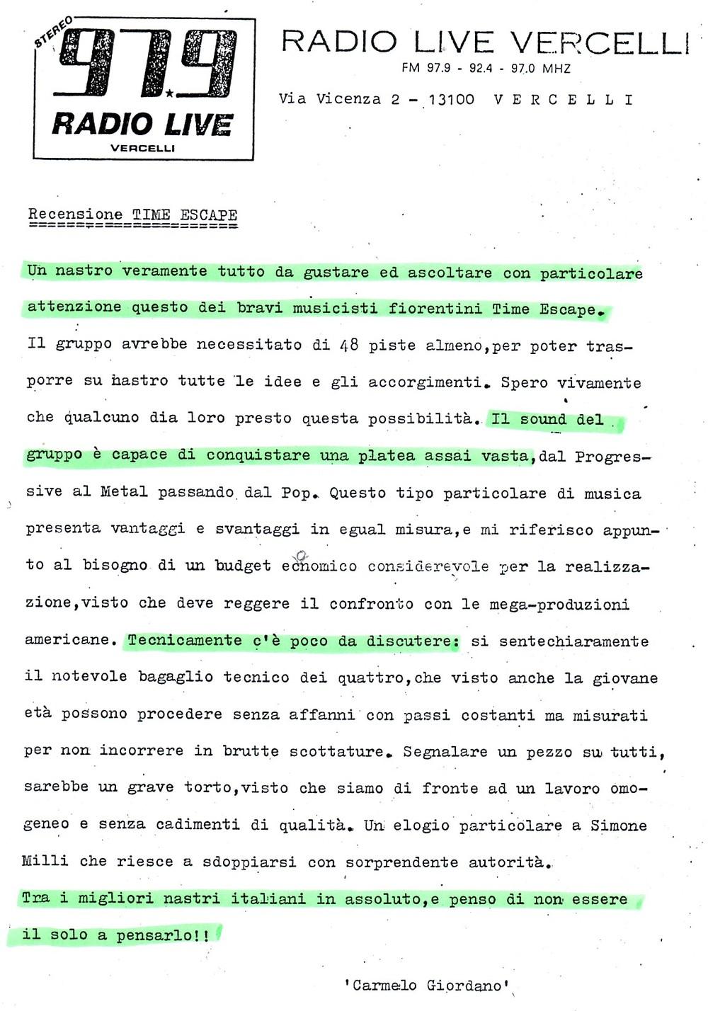 RADIO LIVE VERCELLI (ITALY) - 1988