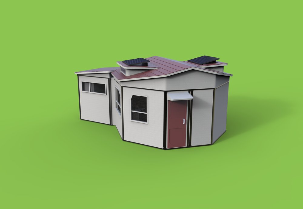 The solution is MOD+ - MOD+ is a low cost modular home that consists of a bed area, cooking space, and bathroom. The project is aimed toward California State Universities to help with their large homeless student populations.