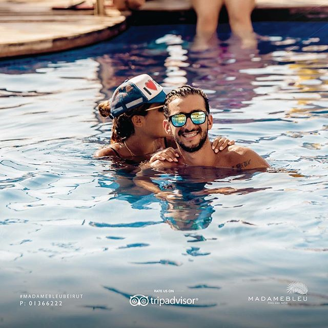 It's all smiles in the pool! #MadameBleuBeirut