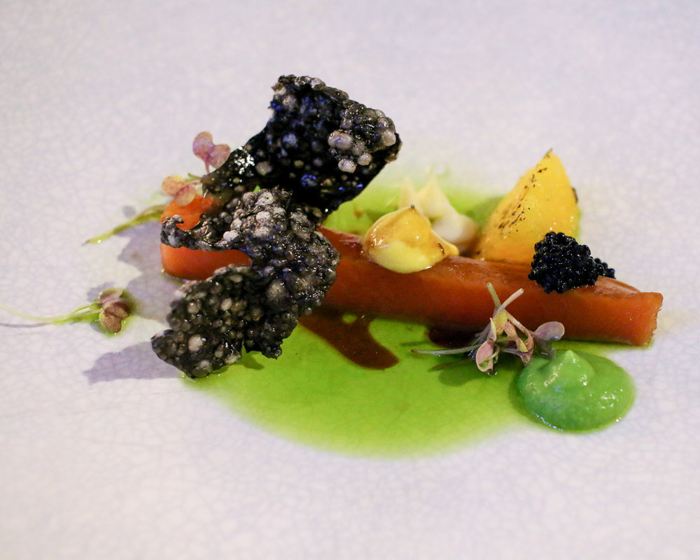 Cured salmon, radish, pea purée, tapioca crisp, carrot mousse, burnt orange