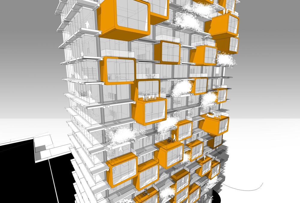 Wohnraumerweiterung durch aufgesetzte frei tragende Kuben
