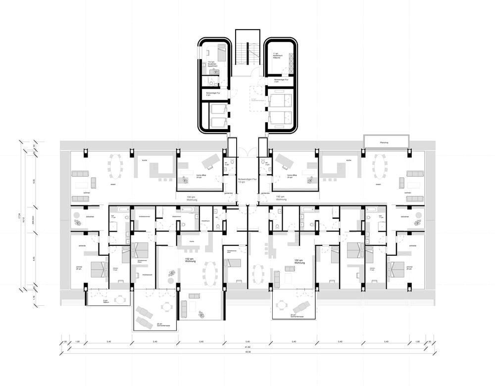 Grundriss Regelgeschoss Familienwohnen