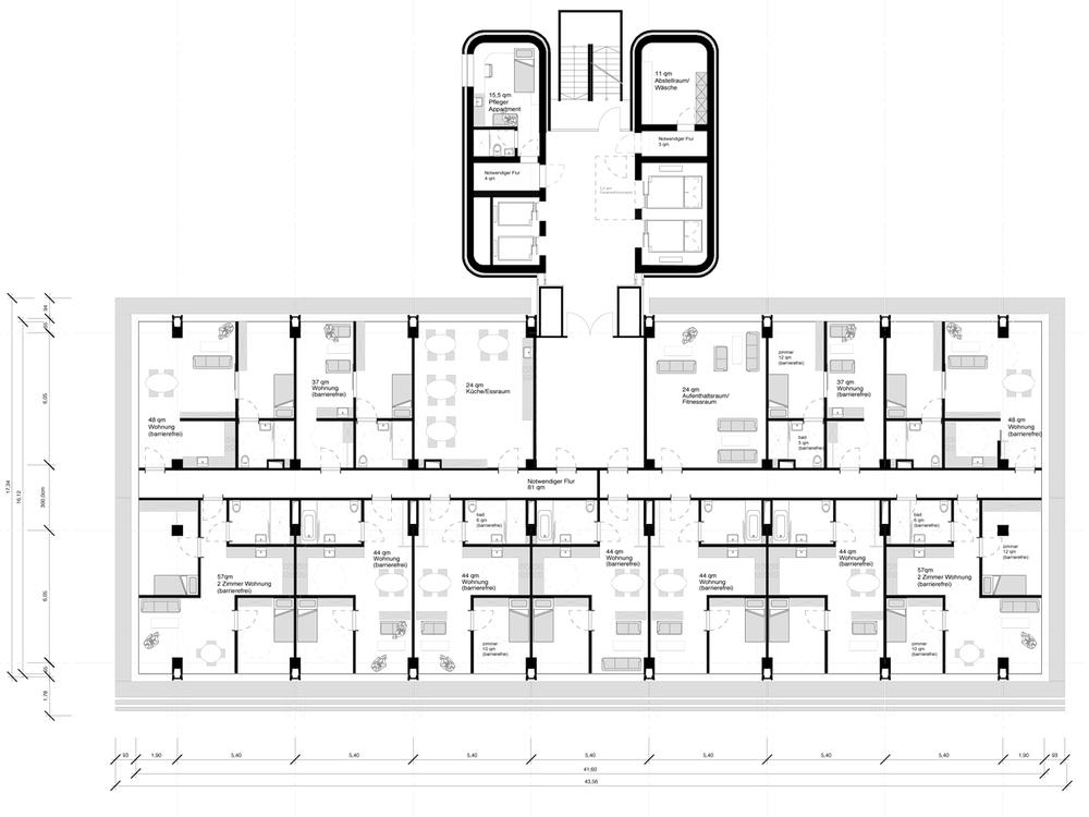 Grundriss Regelgeschoss Wohnen 70+