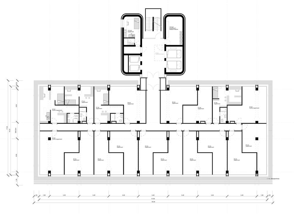 Grundriss Regelgeschoss Boardinghouse