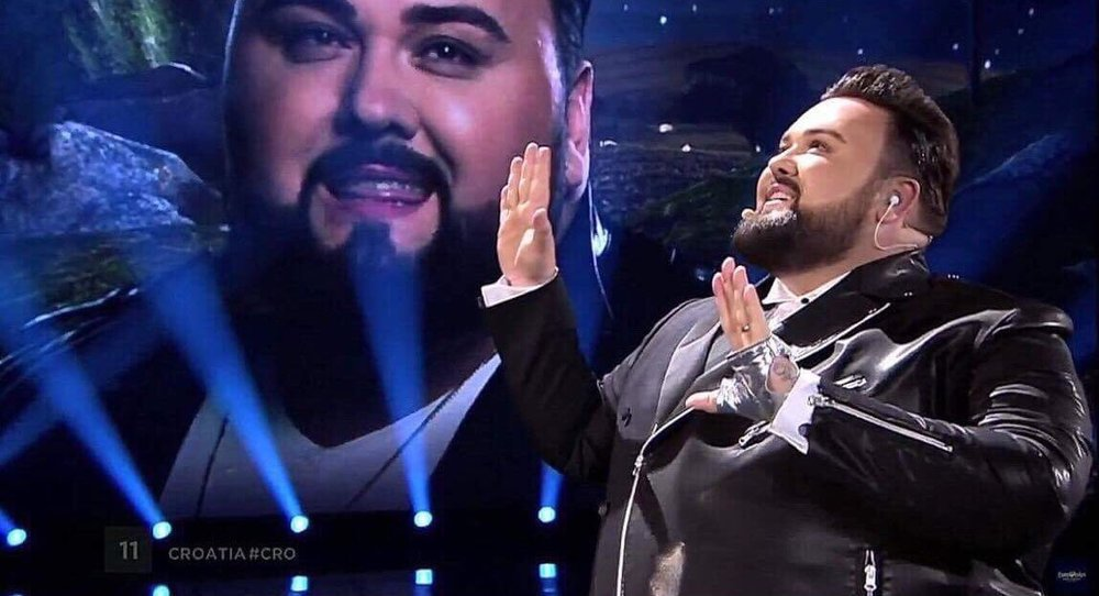 Croatia's Jacque Houdek doing a duet with himself- some of the outlandish stuff that makes Eurovision what it is.