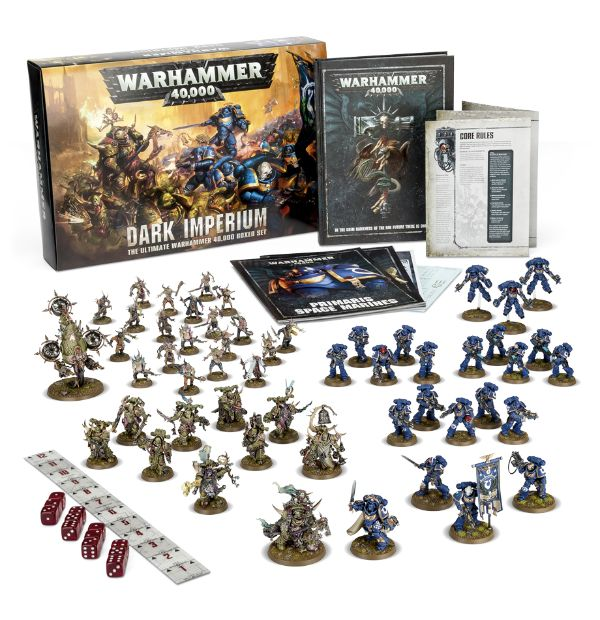 The contents of Dark Imperium. Paint sold separately.