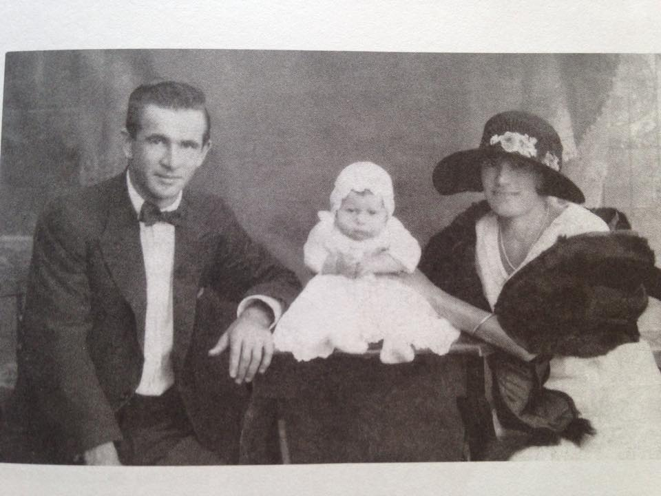 My paternal great-grandparents, Doris and Grafton, with their first born, also Grafton Jnr, my grandfather's brother, date unknown.