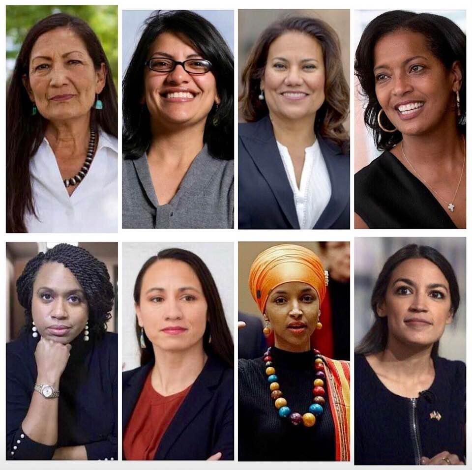 New faces.  (Top L-R: Deb Haaland, Rashida Tlaib, Veronica Escobar, Jahana Hayes)  (Bottom L-R: Ayanna Pressley, Sharice Davids, Ilhan Omar, Alexandra Ocasio-Cortez)