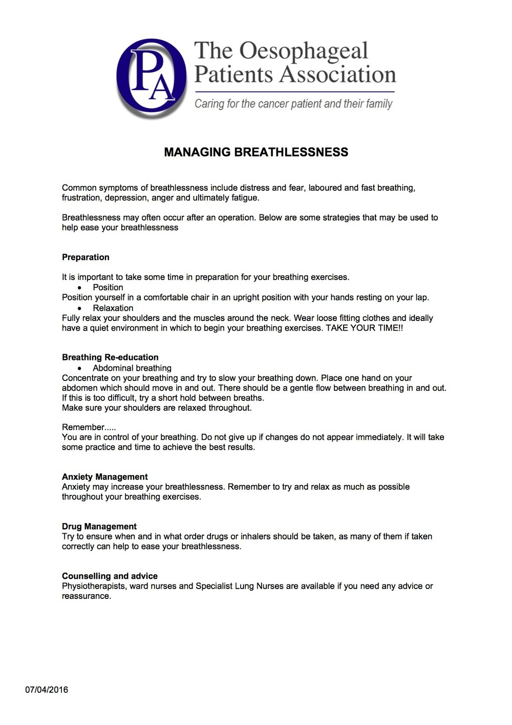 Managing Breathlessness   Some useful tips on managing your breathing