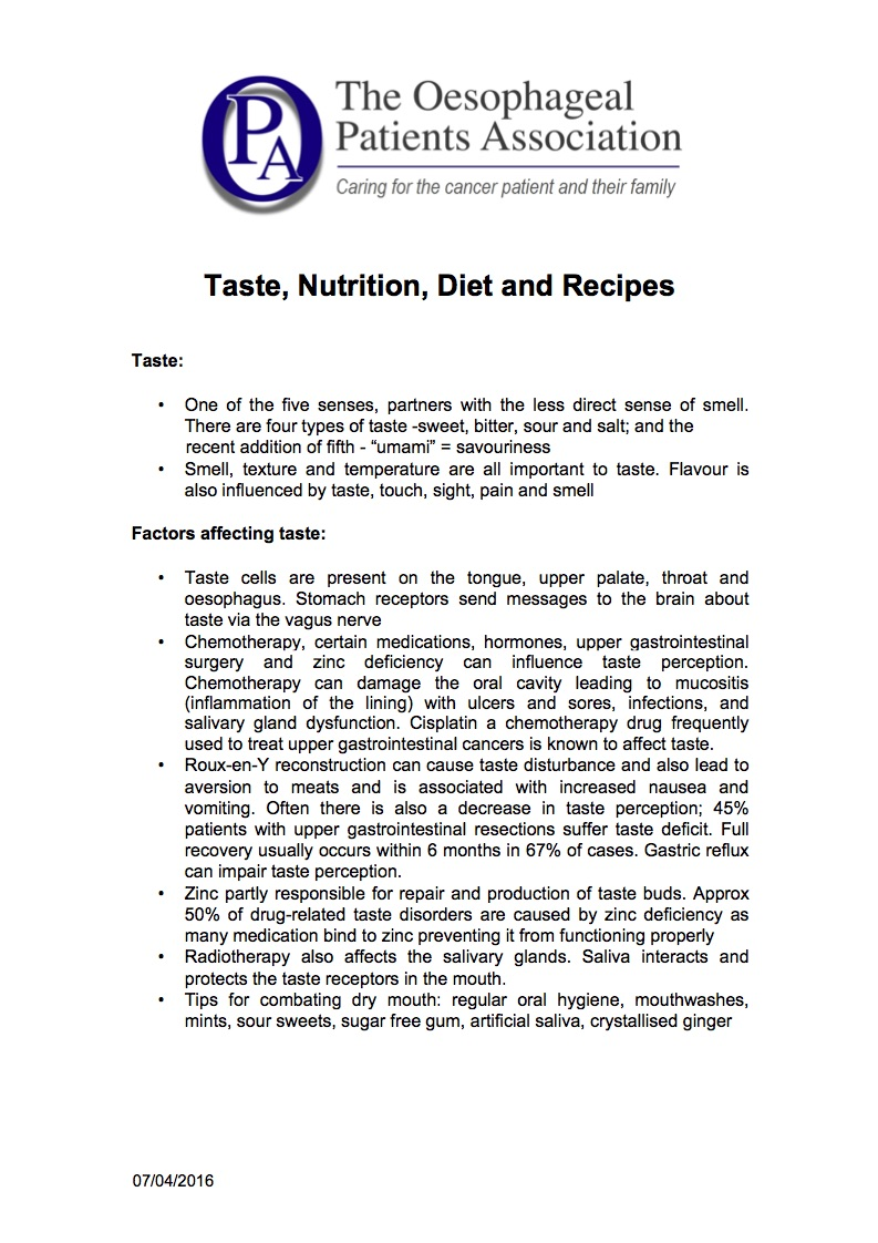 Nutrition and Recipes   How treatment may affect taste