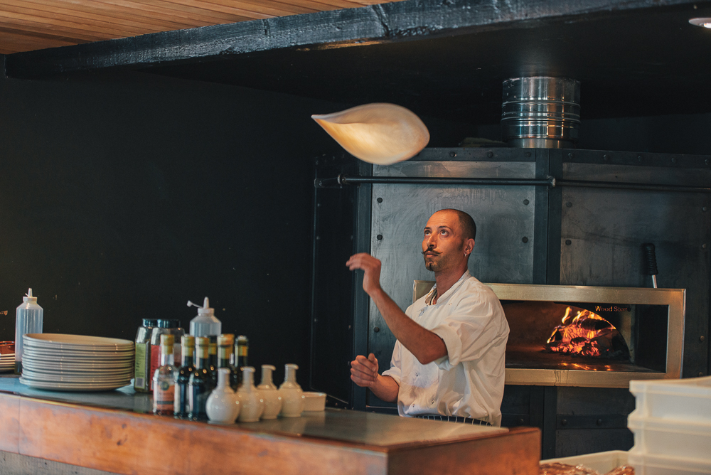 Pizza chef at The Akeman Inn, Kingswood