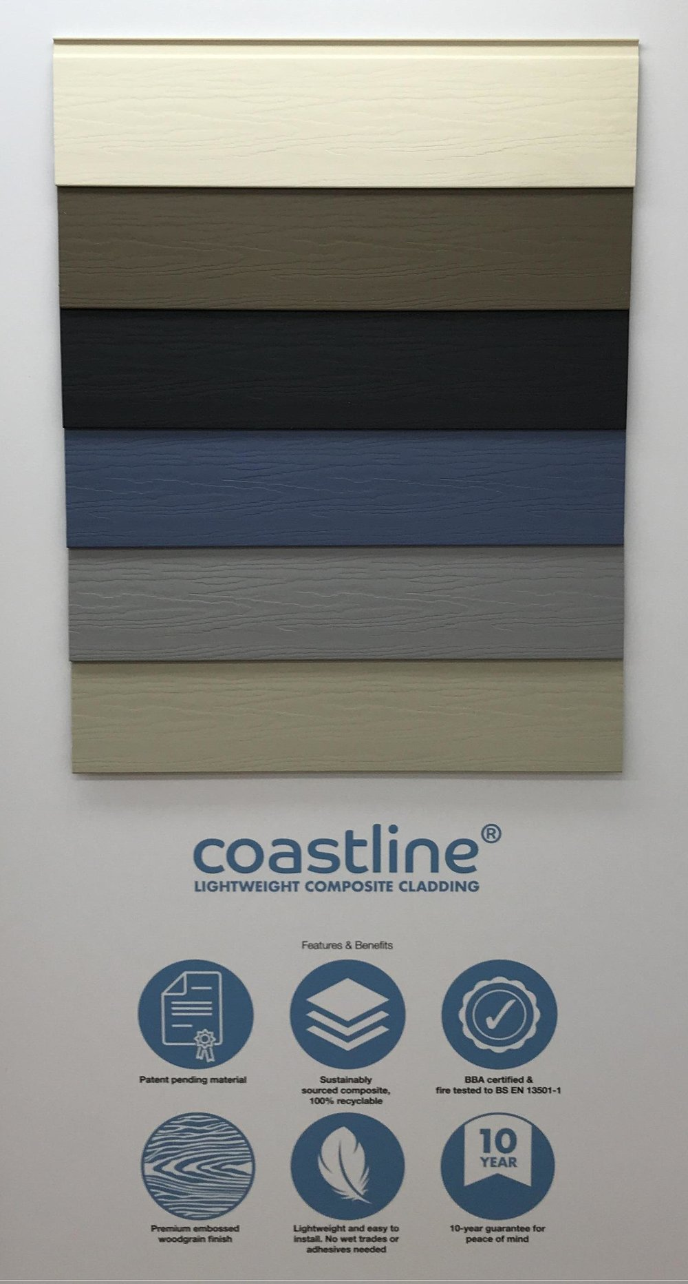 - What's more it doesn't just protect and preserve the fabric of the building. It does it in true style, with a range of six attractive New England colours: Anthracite Grey, Moondust Grey, Pigeon Blue, Oyster White, Soft Green and Taupe. A contemporary matt embossed woodgrain finish adds to the authentic timber facade effect. Unlike timber, Coastline is virtually maintenance-free, will not rot or warp and is pest and insect resistant. It's specially developed colour-coordinated and full powder-coated aluminium trims and end closers means installation is both quick and easy, with no wet trades or adhesives needed. Suitable for buildings up to 18m tall, it is BBA certified and fire tested in the UK by Exova Warringtonfire to conform to BS EN 13501 (Fire Classification for Construction Products).Quick and simple to install, Coastline employs a simple interlocking mechanism that fixes to standard timber battens with no membranes required while coordinating aluminium trims and end closers, combined with silicone sealants in complementary colours, create the perfect finish in every installation.As the next generation of cladding, Coastline is both maintenance-free and less harmful to the environment than alternative cladding systems as it contains no organic material so it will never absorb moisture, never rot and never attract insects that could damage its fabric. Unlike cement boards, Coastline is lightweight, fade-resistant, 100% recyclable and will not release harmful silica dust when cut to length. Paint and preservative treatments contain volatile chemicals that are potentially harmful to the environment but Coastline will never need them – all it takes to bring it back to its brilliant best is the occasional clean with a garden hose.Also, with ongoing issues around the supply of traditional materials such as bricks, building designers and contractors are increasingly seeking alternatives that are widely available in the UK and not reliant on imports. Coastline fits