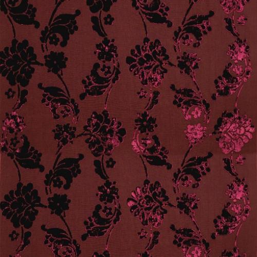 Wild Flora Velvet Jacquard AF10215 Burgundy