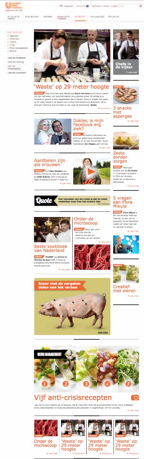 De site voor chefs brengt actueel nieuws en hergebruikt op een slimme manier de content uit het magazine, geoptimaliseerd voor het web. Neem nu het varken: dat wordt een interactieve infografiek op de site waarbij je op de bil of wang van het varken kan klikken.