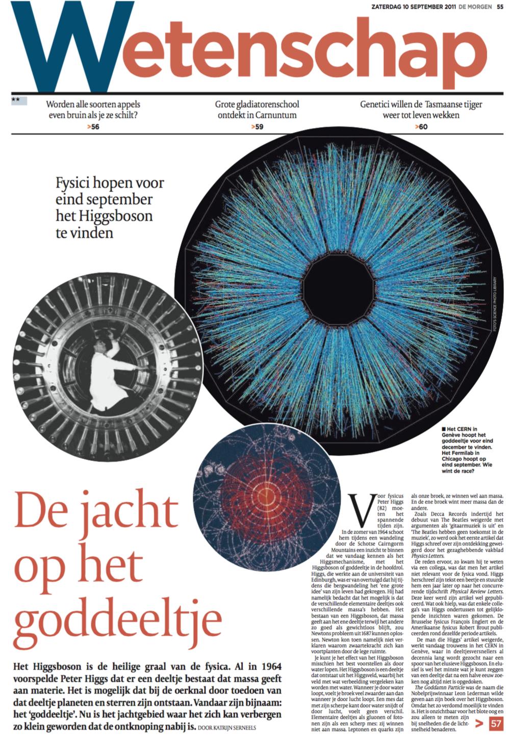 Nieuwe weekendbijlage over wetenschap De Morgen     (in vaste dienst bij De Morgen)