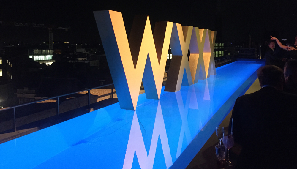 The rooftop whirlpool by night, during the hotel's opening event! The XXX letters next to the hotel's logo are part of the city's 500-years old coat of arms, the symbol of Amsterdam!