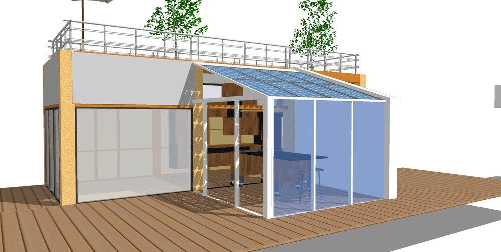 Micro macro Habitat hus med drivhus med Onyx vinduer