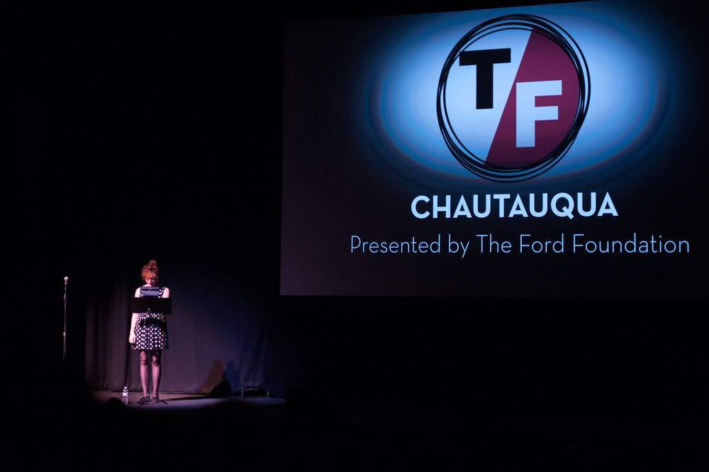 EmCee-ing at the True/False Film Festival. Photo credit: Stephanie Sidoti