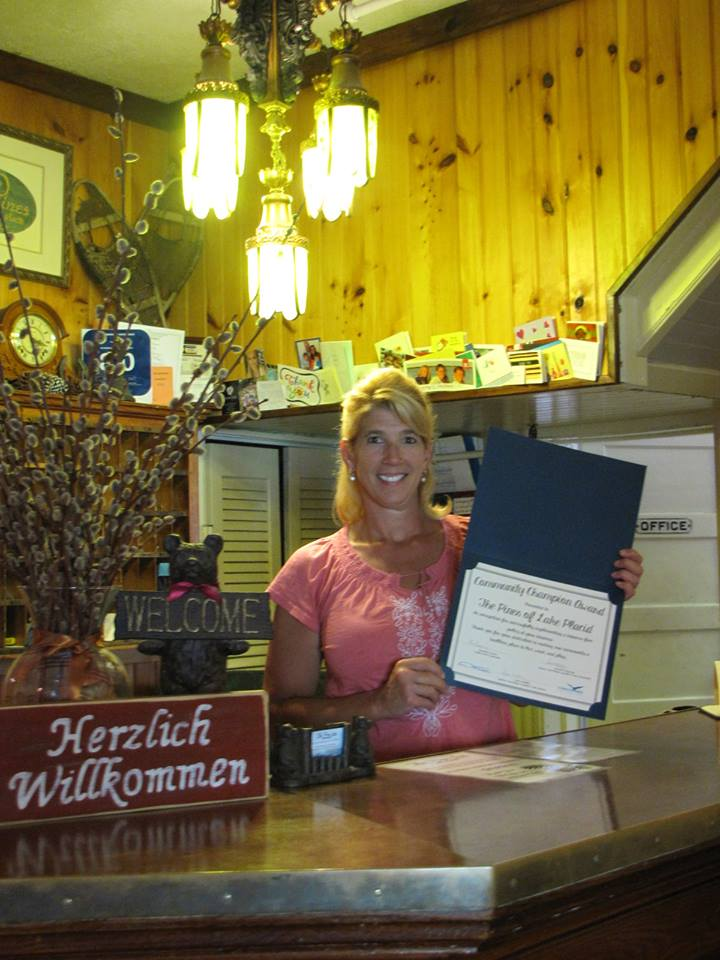 "Jill Cardinale Segger and Frank Segger own and operate The Pines Inn ~ Lake Placid. They were awarded the Community Champion Award in August of 2015 for their continuation of being a tobacco-free establishment.  This family owned and operated inn has been tobacco free for eleven years. Jill noted that since they owned the business, they have always been a non smoking establishment. She also noted that very few people even ask for a smoking room – and ""most customers follow our rules.""  Congratulations to Jill and Frank for their tobacco-free establishment and for their efforts to make our community a safe place to live, work, and play."