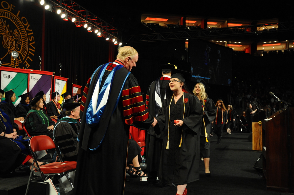 Shaking University of Louisville President Ramsey's Hand at the 2016 Commencement Ceremony. May 14th 2016.