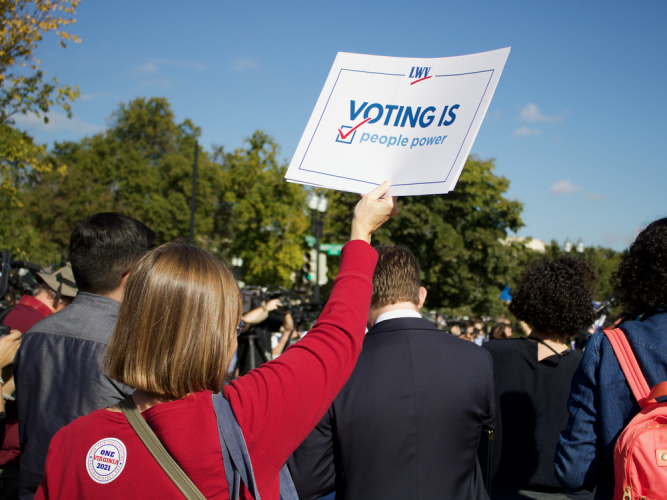 We fight to increase voters' access to the polls, including expanding early voting, automatic and online voter registration.   -