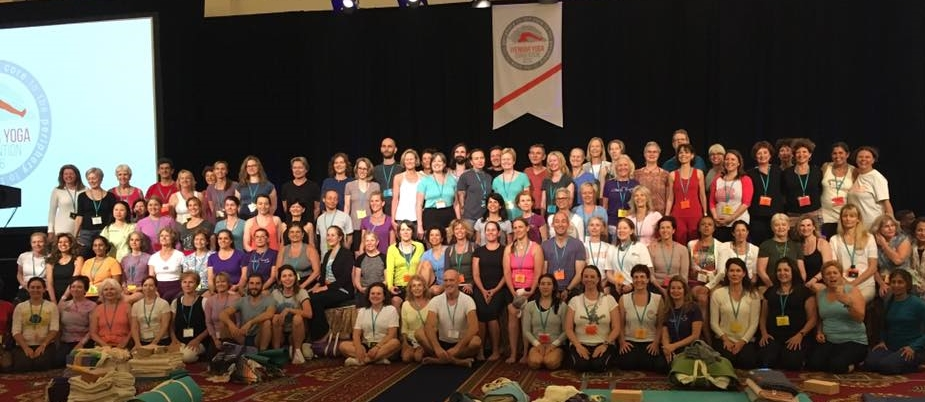 The smiling faces of the IYASE Members who attended the 2016 IYNAUS CONVENTION with Abhijata Sridhar. Abhijata is a senior teacher at Ramanani Iyengar Memorial Yoga Institute (RIMYI) in Pune, India. Over the Memorial Weekend, she effectively and creatively shared the wisdom she gained from her studies with her maternal grandfather, the world renowned yogacharya, BKS Iyengar, her aunt, Geeta S. Iyengar, and her uncle, Prashant Iyengar.
