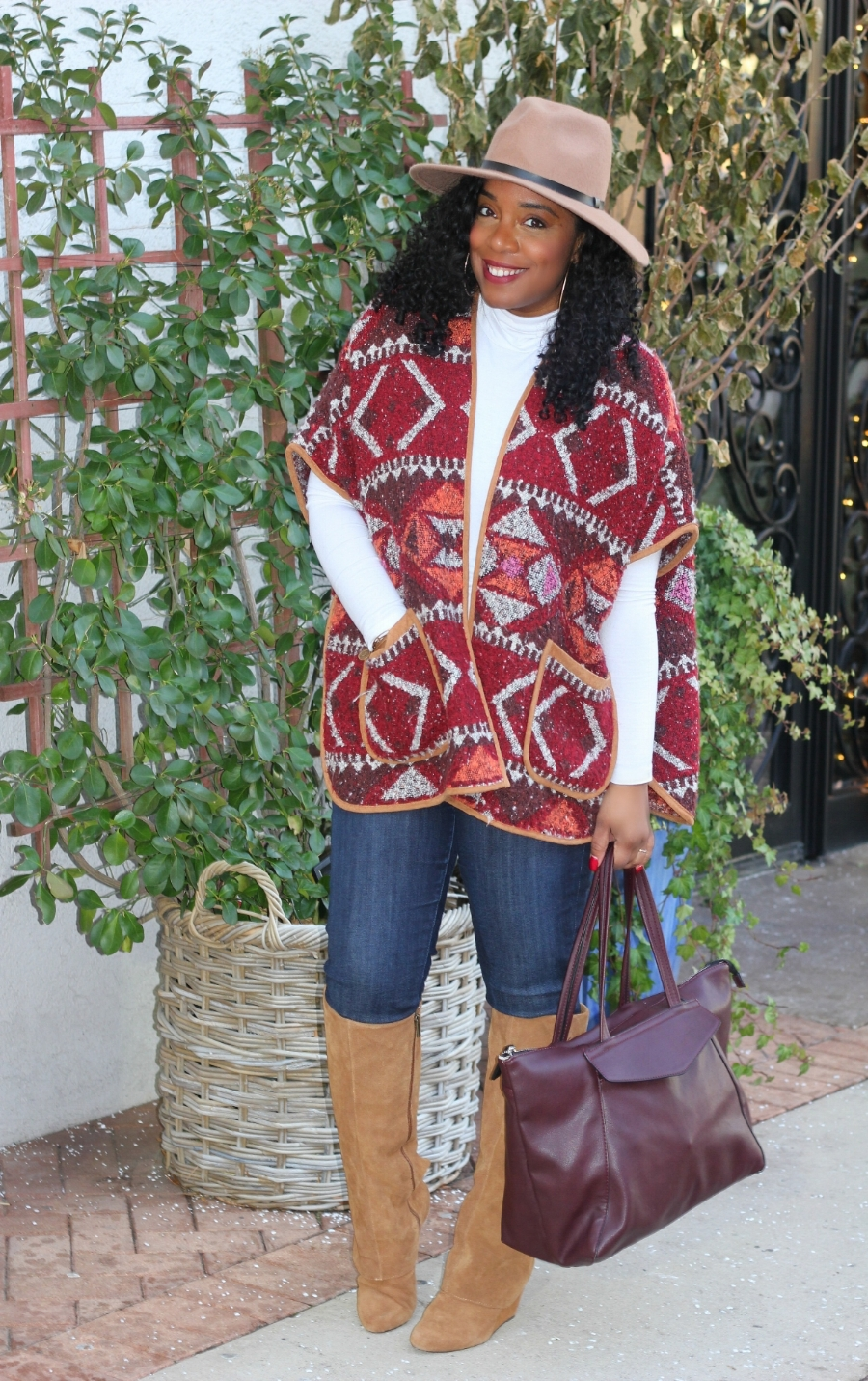 Aztec cape and Denim with OTK boots