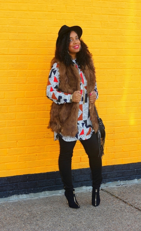 Abstract Print and Faux Fur