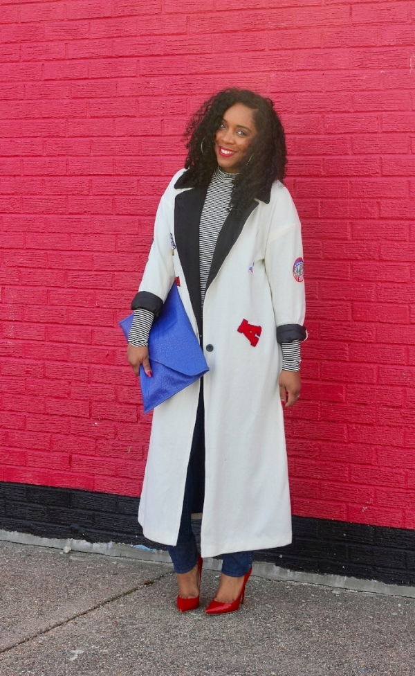 Patch Coat andd Cobalt Clutch