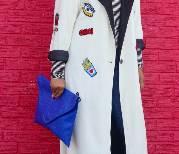 Patch Coat and Cobalt Clutch