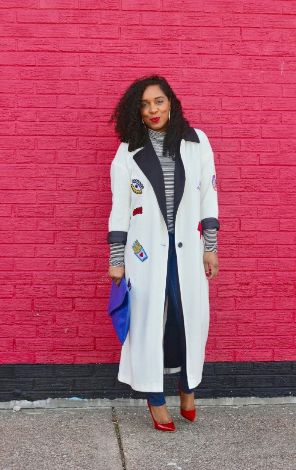 Patch Coat and Red Pumps
