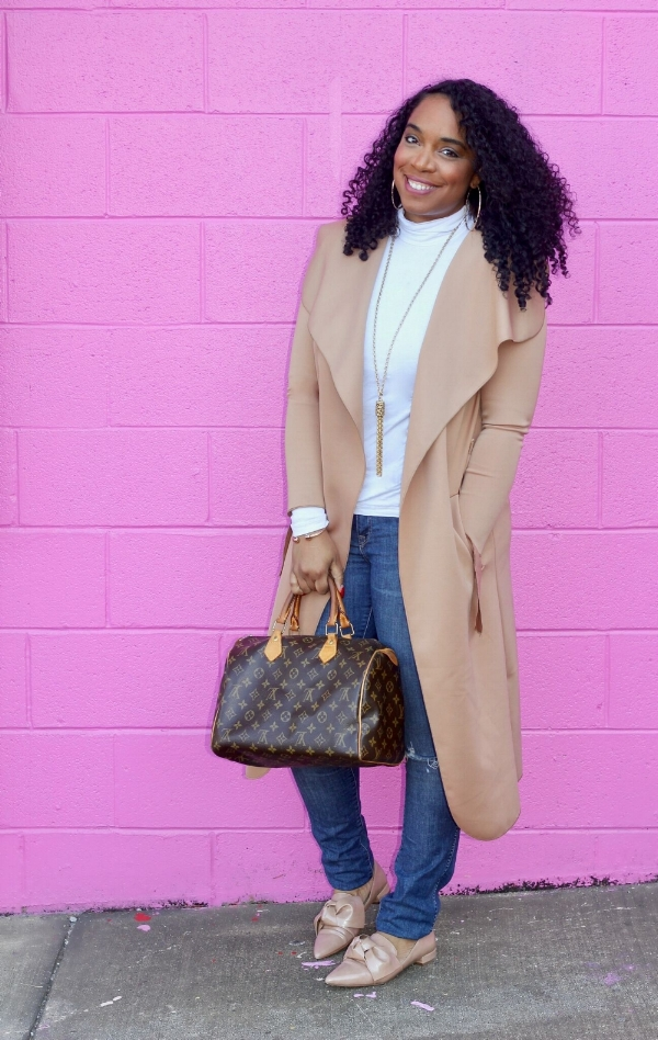 Tan Duster and Nude Bow Flats