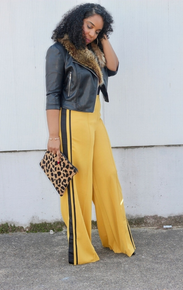 Mustard Tuxedo Pants and Leather Jacket