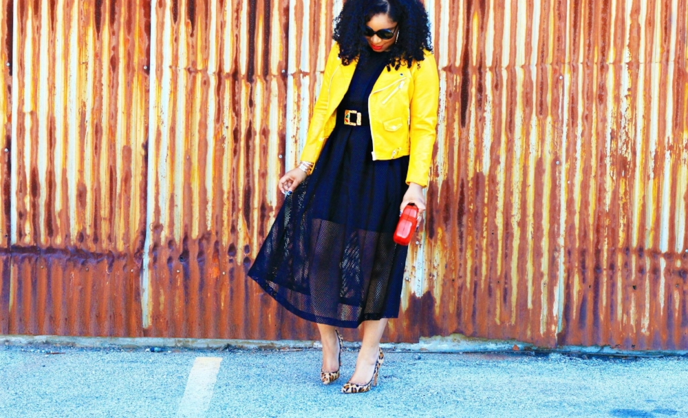Black Midi Dress with bright moto