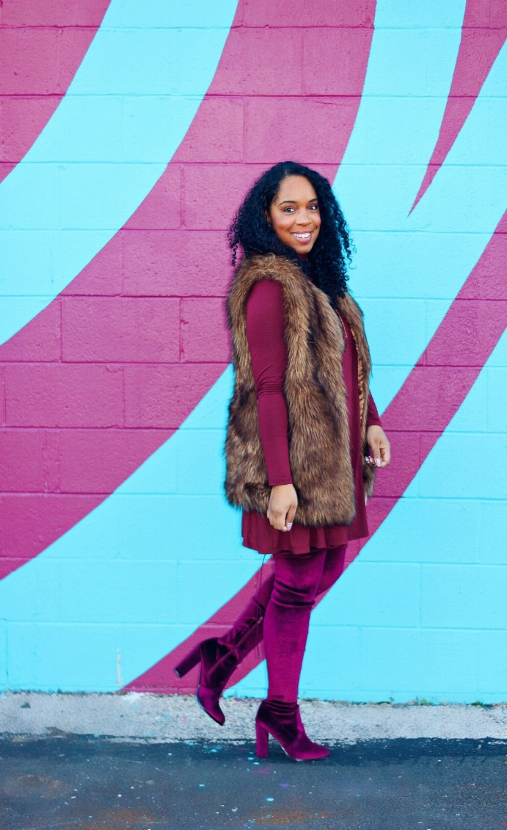 Fur Vest and Wine Boots